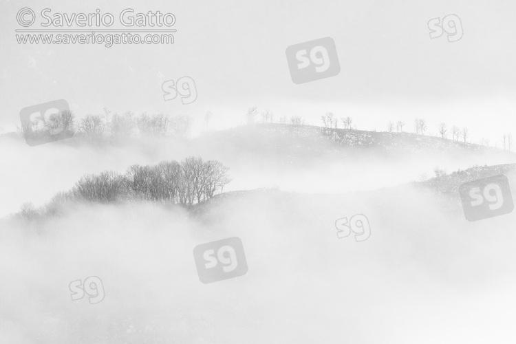 Paesaggio montano, nebbia che avvolge le cime di alcune montagne